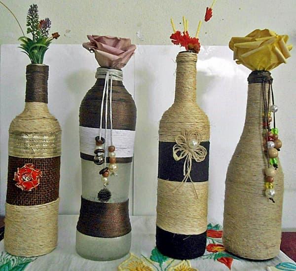 garrafa com barbante