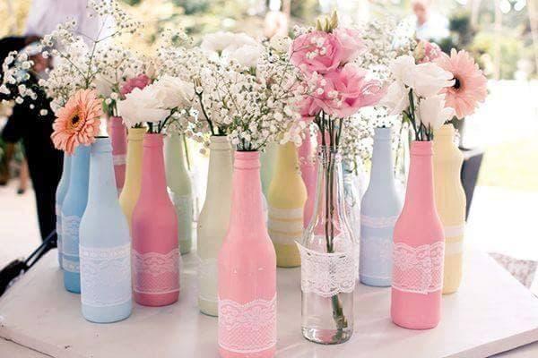 garrafa pequena decorada para festa
