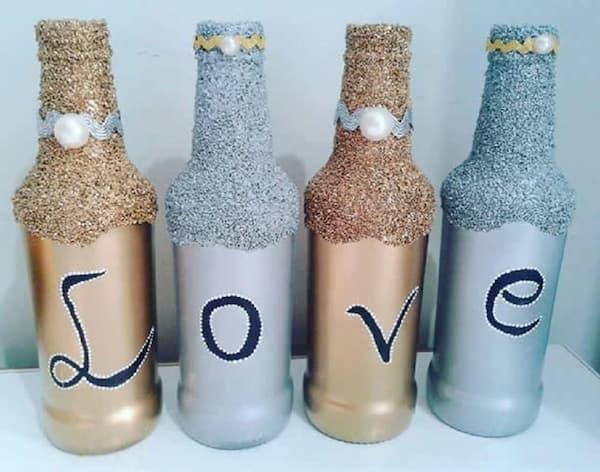 garrafas com gliter love