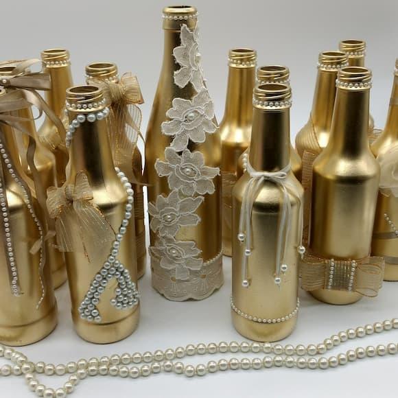 garrafas douradas para casamento