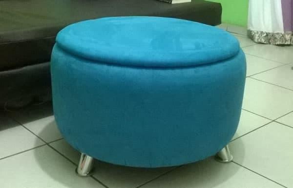 puff de pneu com tecido azul